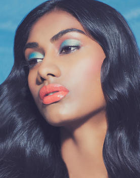 Beauty of woman with colored makeup