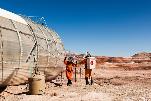 Member of the Mars Desert Research Station on a research mission