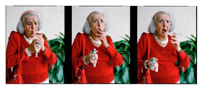 Split Image Of A Senior Woman Smoking.