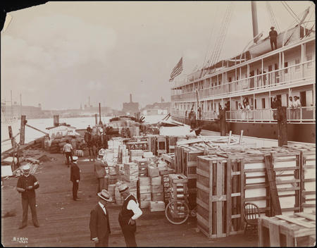 A Relief Ship Picking Up Supplies During The Spanish American War.