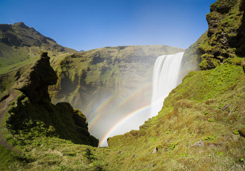 Rainbows at Skogafoss waterfall