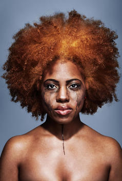 Portrait Of A Crying Woman Of African Ethnicity With Make Up Running Down Her Face