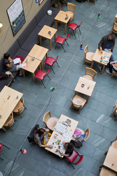 Overhead view of the Centre for Contemporary Arts caf_ with people eating at tables