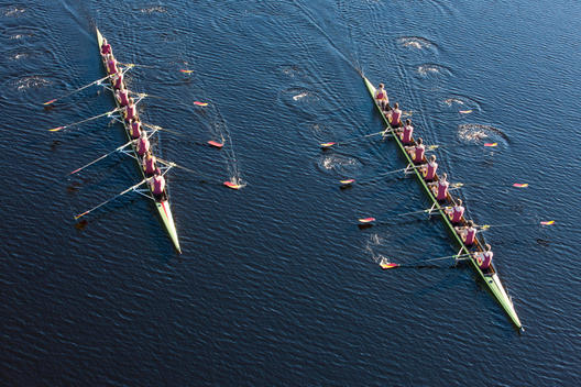 Elevated view of two rowing eights in water