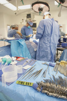 Tray with surgical equipment in operating room