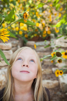 A Child, A Young Girl Looking Up At A Sunflower In A Flower Garden.