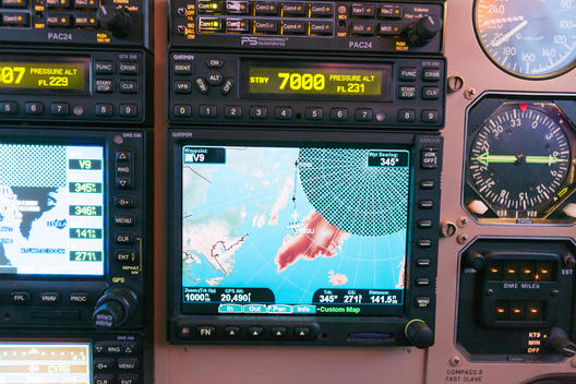 The GPS display of a King Air B200 (G-SYGA) airplane as it flies over the Arctic Circle