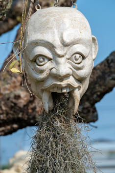 Plants growing out of devil head sculpture