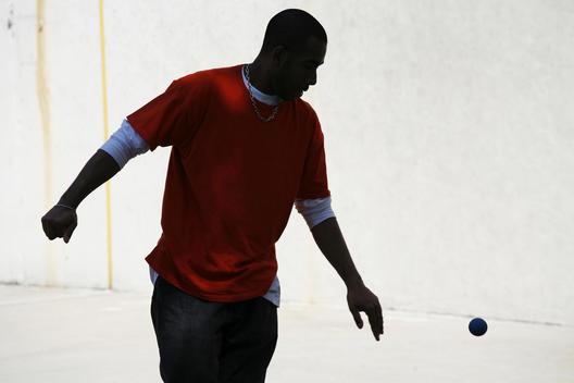Handball Player At The West 4Th Street Handball Courts.