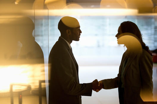 Businessman and businesswoman handshaking in lobby