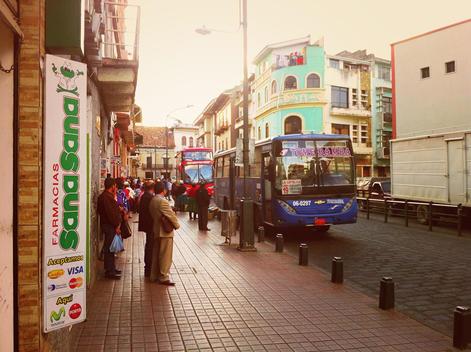 Bus stop in Cuenca, Ecuador, local, public transport