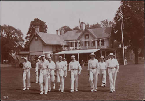 A Cricket Team Walking On To The Pitch Of The Livingston Cricket Club, Staten Island, N.Y.