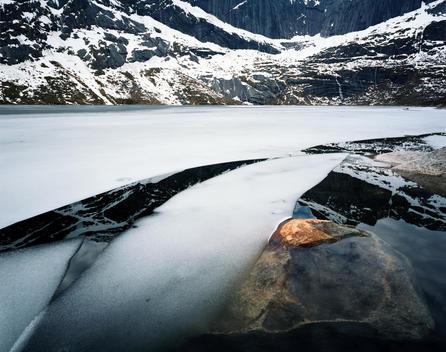 Landscape Of Frozen Lake, Nordland Norway