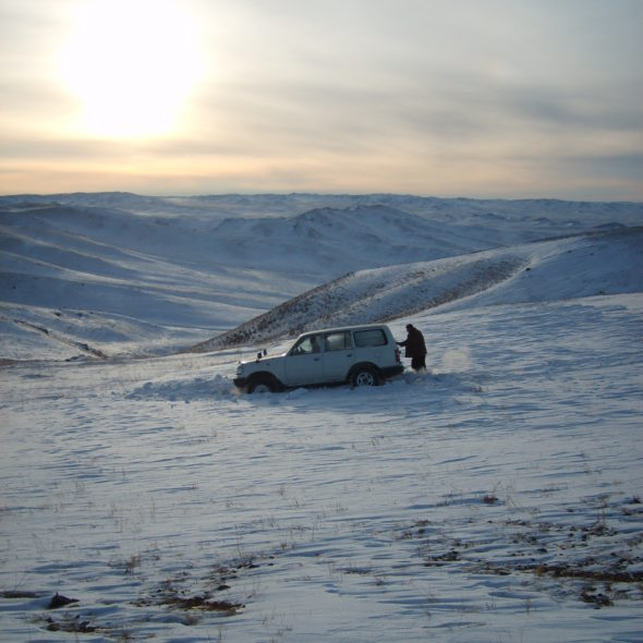 Car stuck in the snow – Mongolia