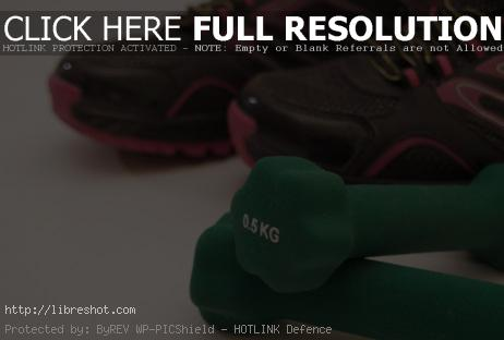 Fitness Dumbbells And Sport Shoes