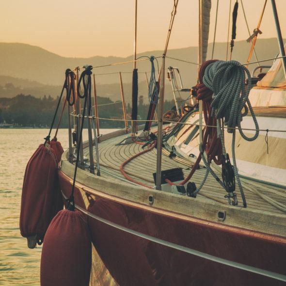 Luxury sailboat in dusk