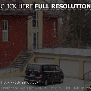 Falling Snow With House And Van Car