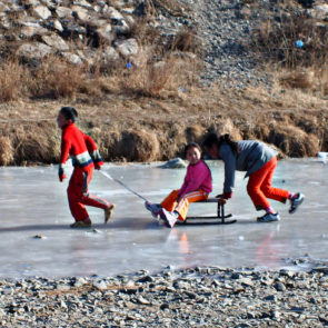 Playing children in Mongolia