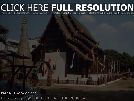 Wooden buddhist temple in Thailand