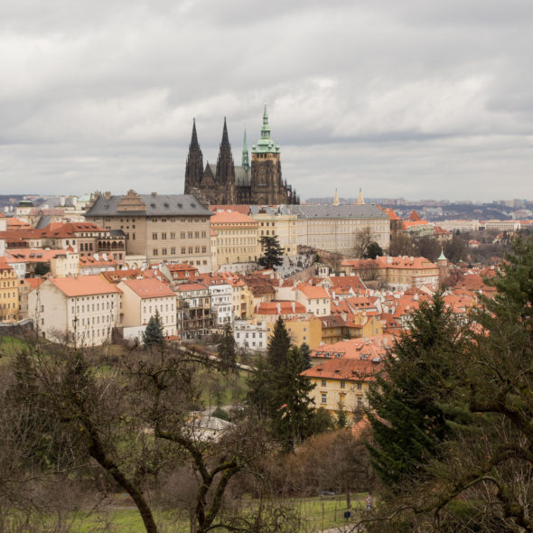 View to Prague Castle from Petřín hill