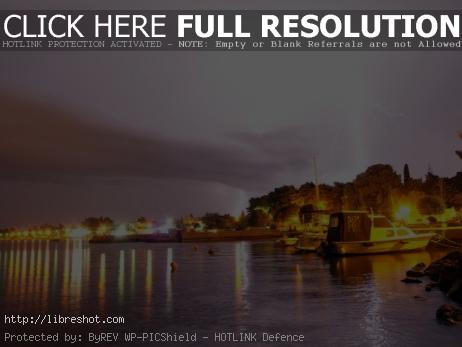 Lightning, Boats And Sea