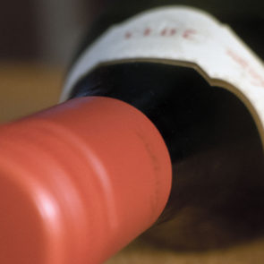Red wine bottle close-up