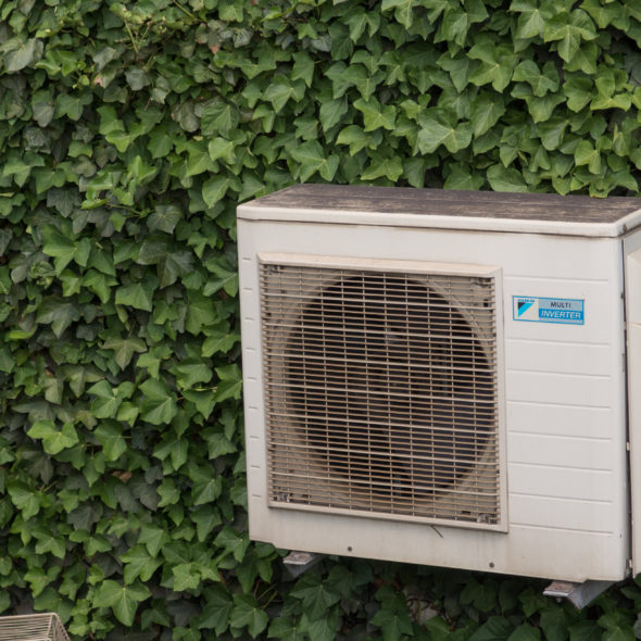 Air conditioner compressor on the ivy wall
