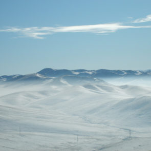 Frozen mountains in Mongolia