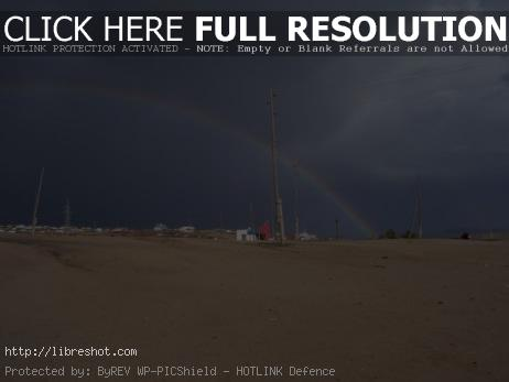Rainbow in desert, Mongolia
