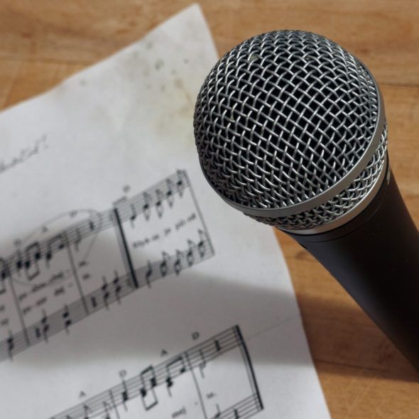 Microphone And Music Notes