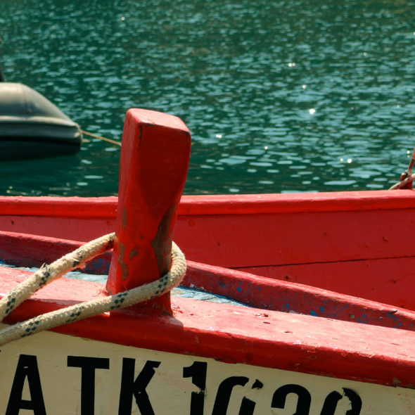 Red wooden boat – Detail