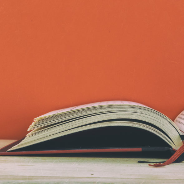 Red background book