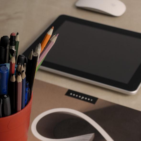 Web designer work desk