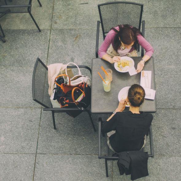 Two women in restaurant