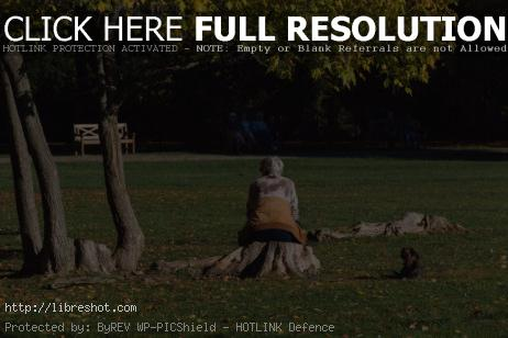 Old Woman With Dog Sitting in the Park | Free Images For Commercial Use