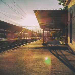 Railway station at sunset