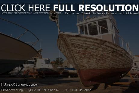 An old fishing boat in dry dock | Free Images For Commercial Use