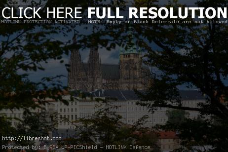 Free image of View of the Prague Castle through the trees
