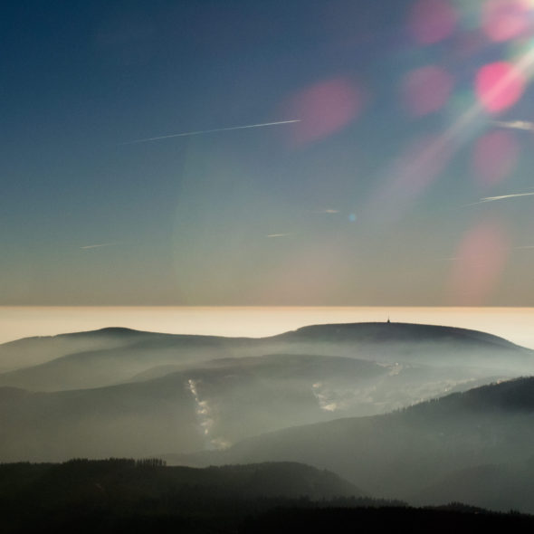 The view from the mountains to the inversion