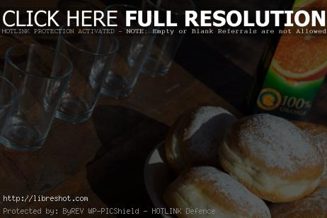 Free image of Sweet breakfast – donuts and juice