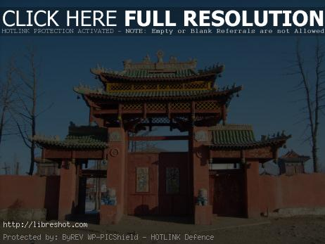 Gate of monastery in Mongolia