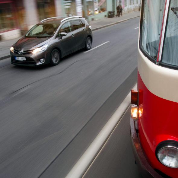 Tramway And Car