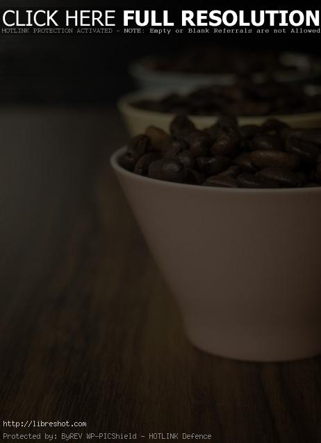 Coffee beans in small cups