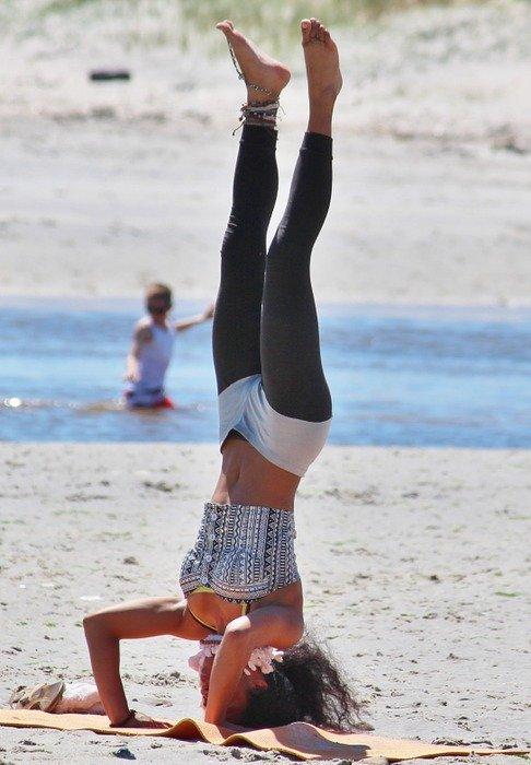 yoga, woman, beach