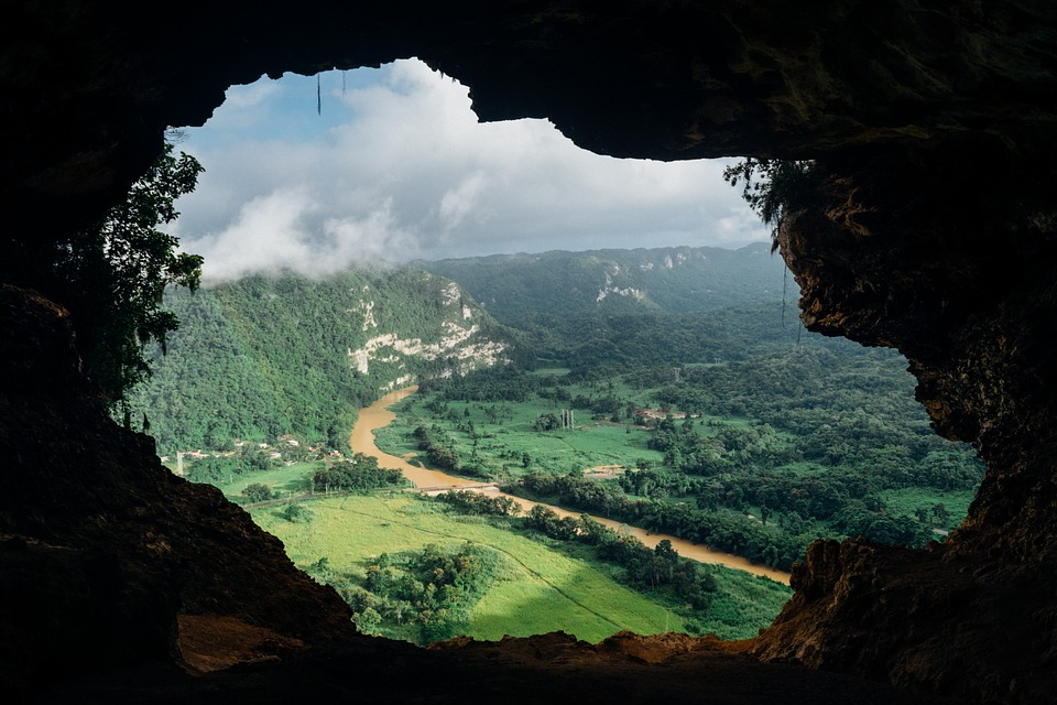 cave, view, river