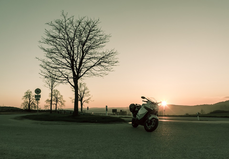 sunset, sunny, motorcycle