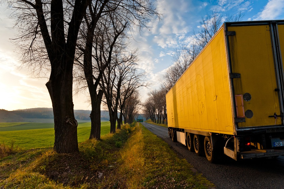 truck, trailer, way