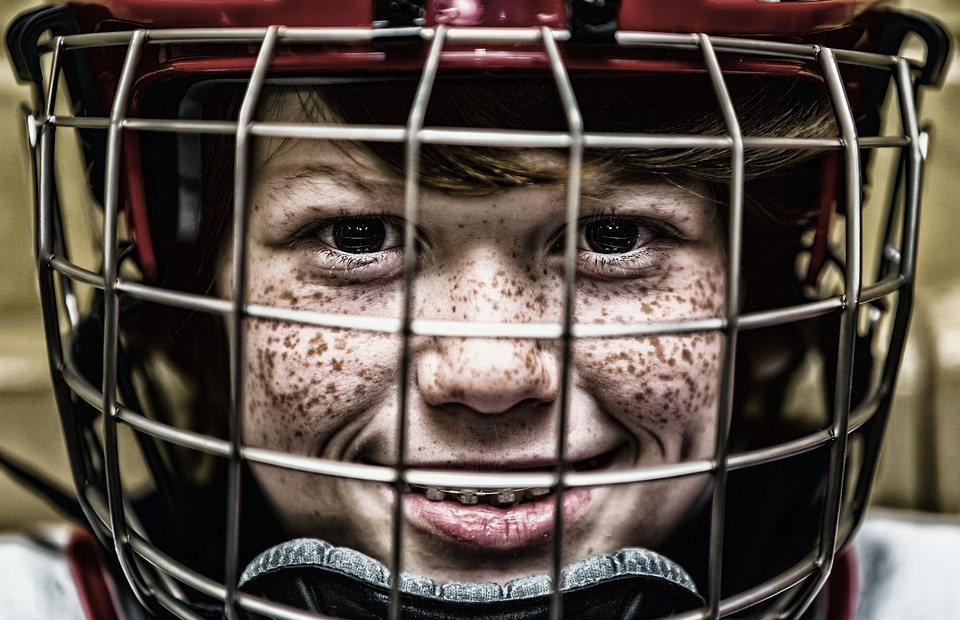hockey, helmet, face
