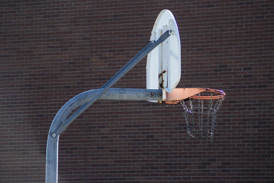 basketball hoop, basketball, rusty