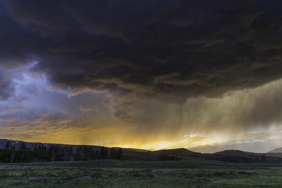 thunderstorm, sunset, sky